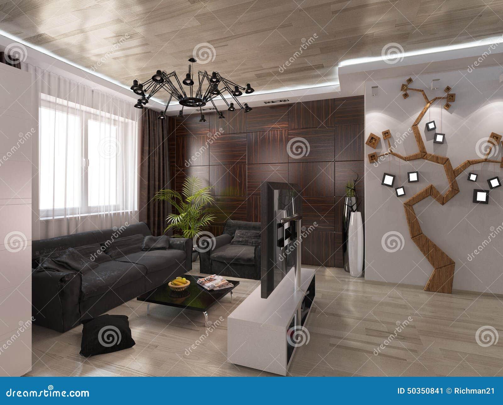 Designwohnzimmer mit warmen farben stock abbildung   bild: 50350841
