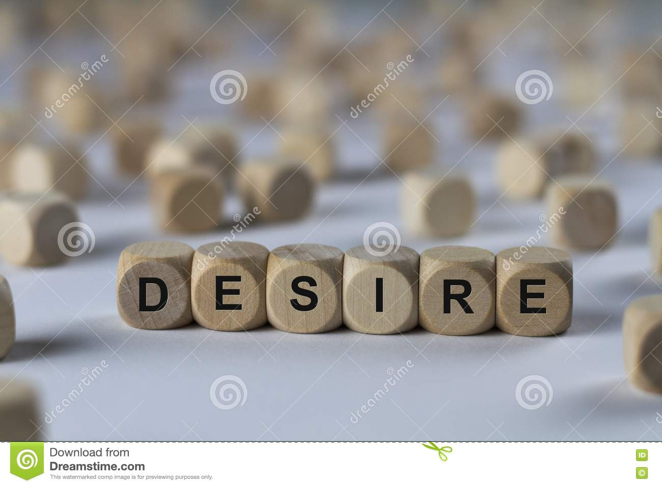 Desire Cube With Letters Sign With Wooden Cubes