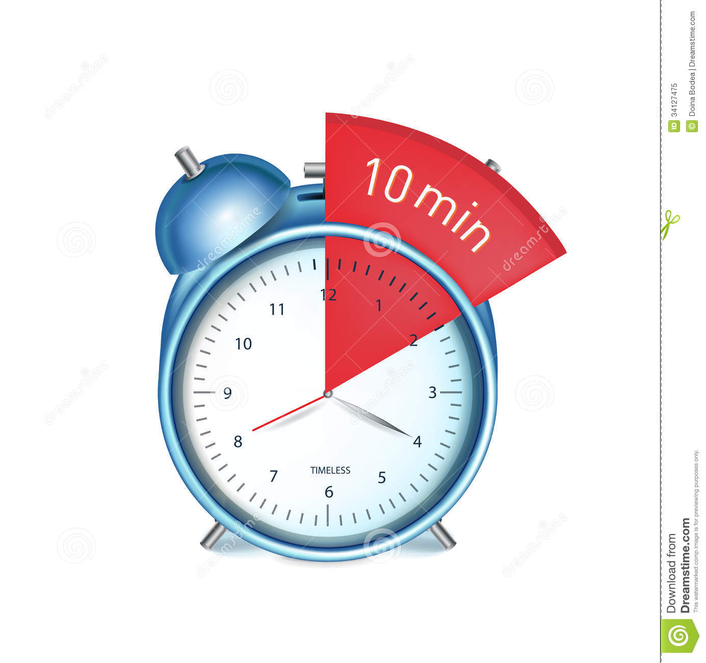 Desk Alarm Clock With Ten Minutes Sign Royalty Free Stock Photo ...