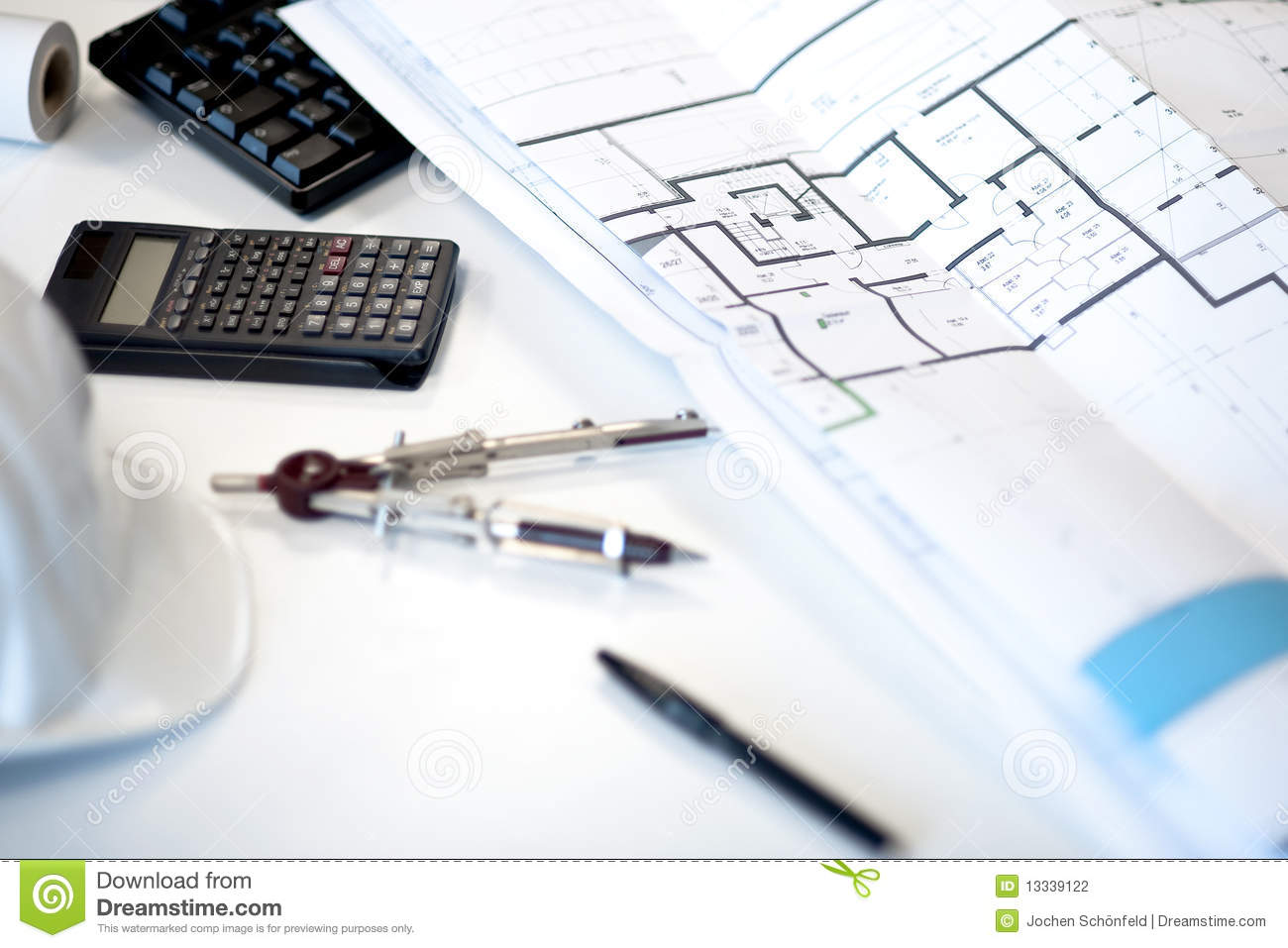 Architect Desk architect desk with rolls and plans royalty free stock image
