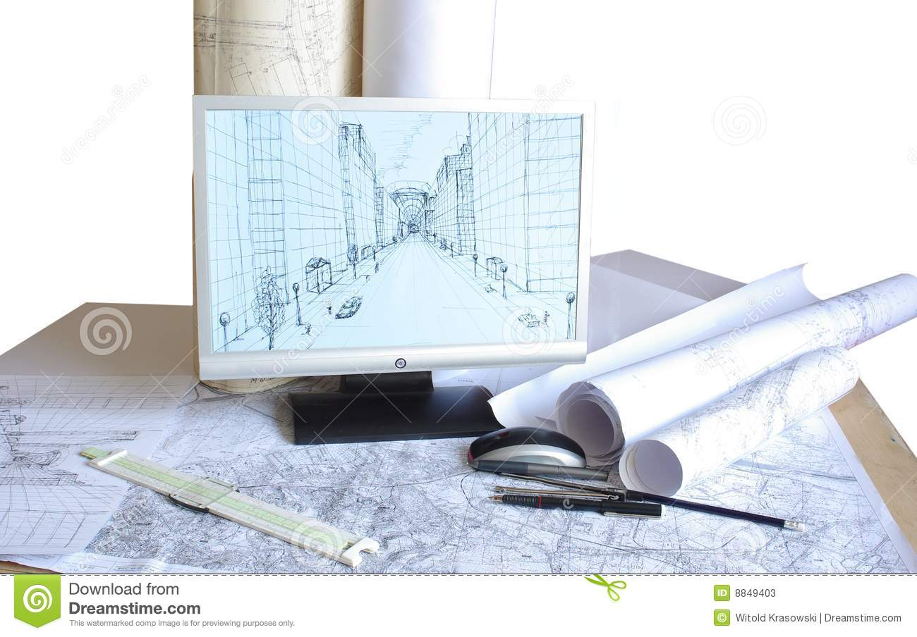 Architects Desk desk of an architect stock photography - image: 13339122