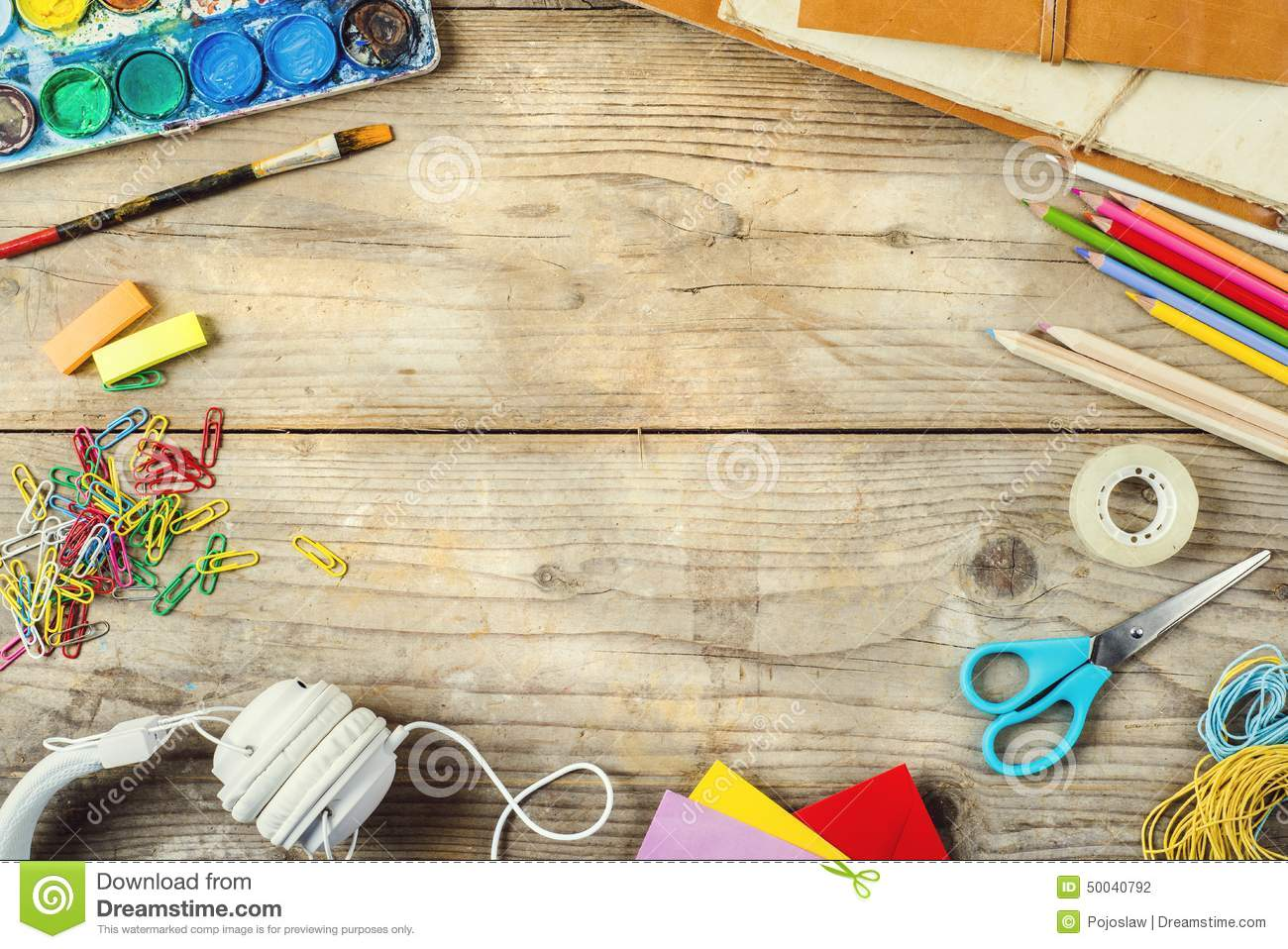 Desk of an artist stock photo image 50040792