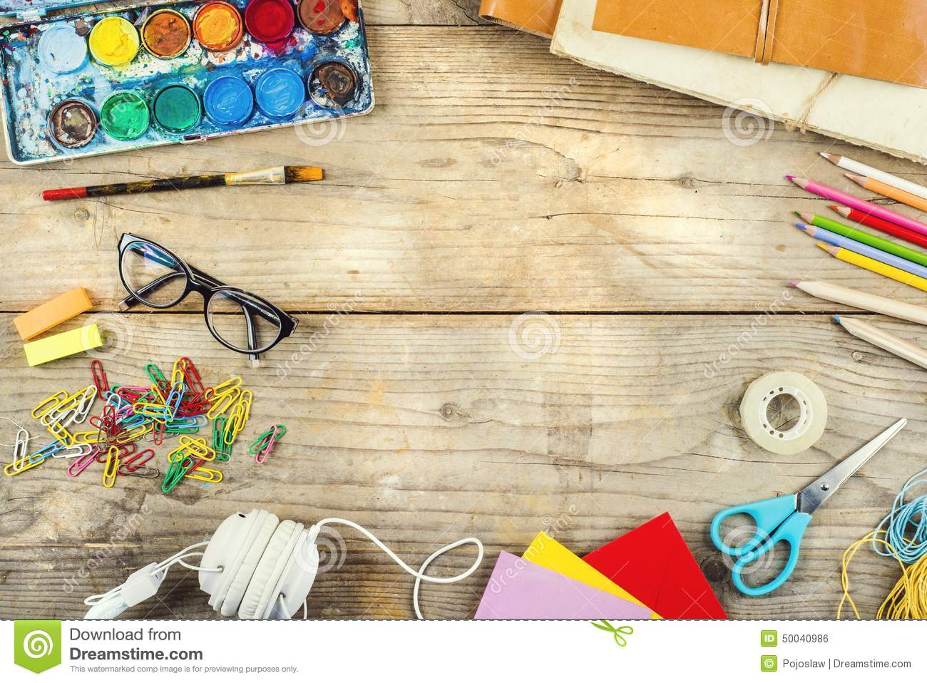 Desk Of An Artist Stock Photo - Image: 50040986