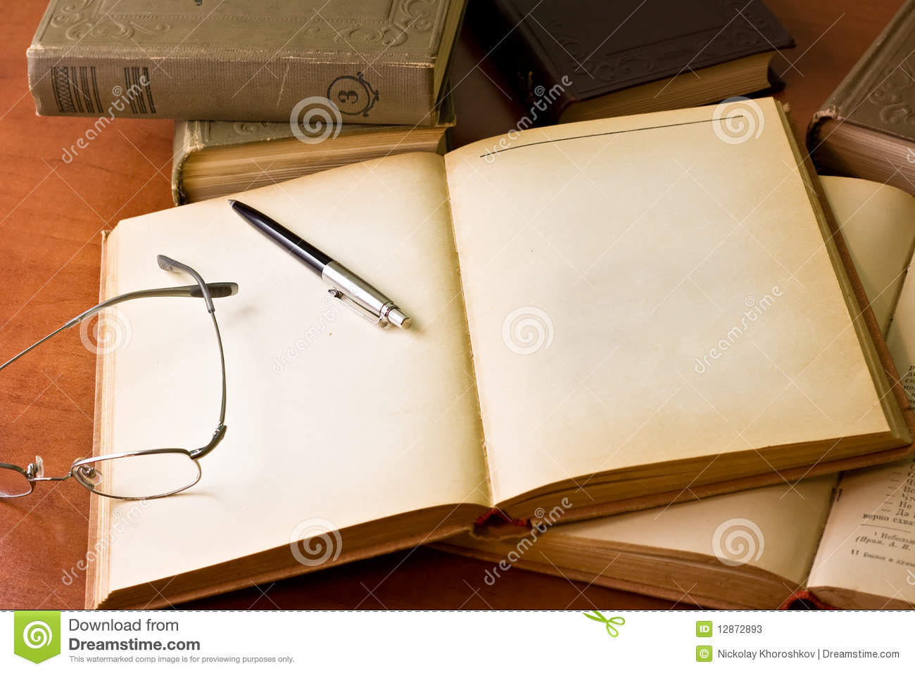 Desk With Books Stock Photos Image 12872893