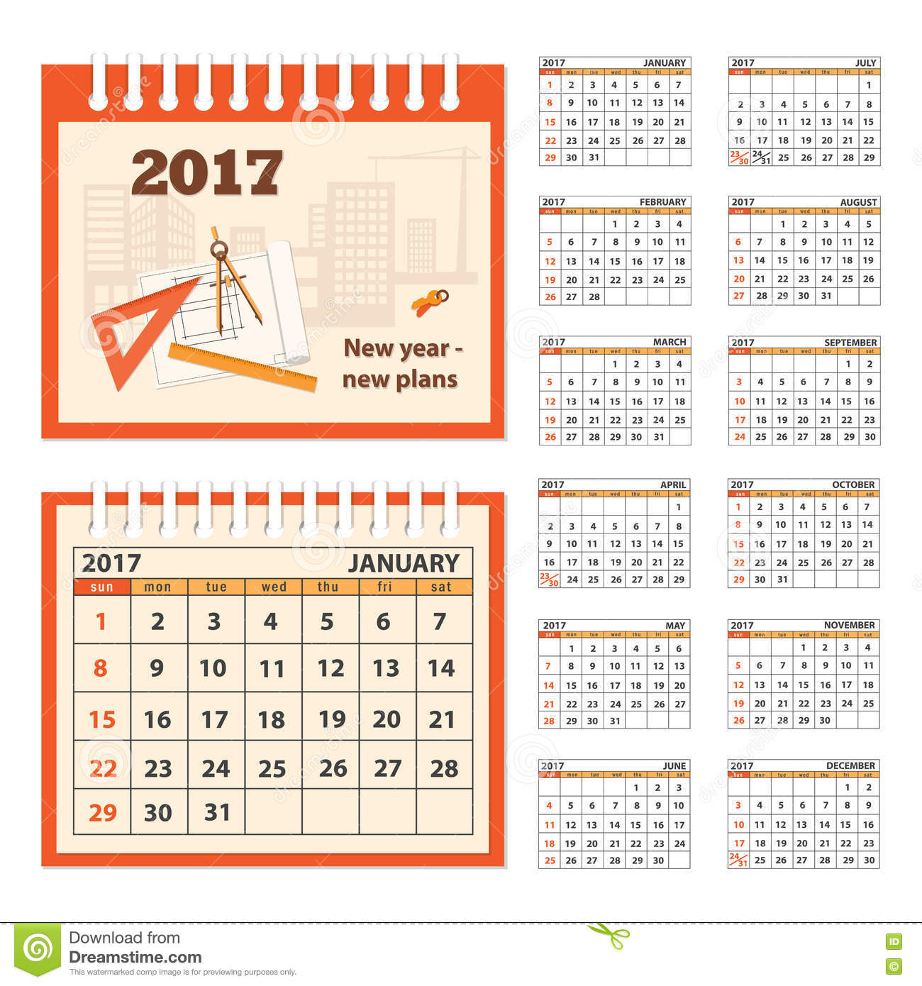 Corporate Calendar 2017 : Desk business calendar year stock vector image