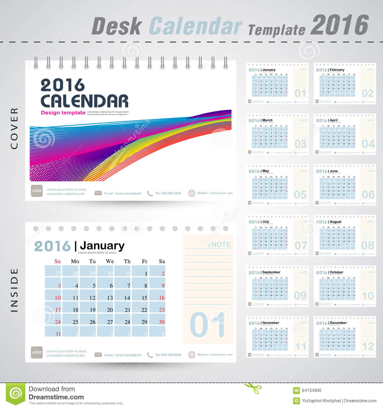 Desk Calendar 2016 Modern Design Template For New Yearoffice