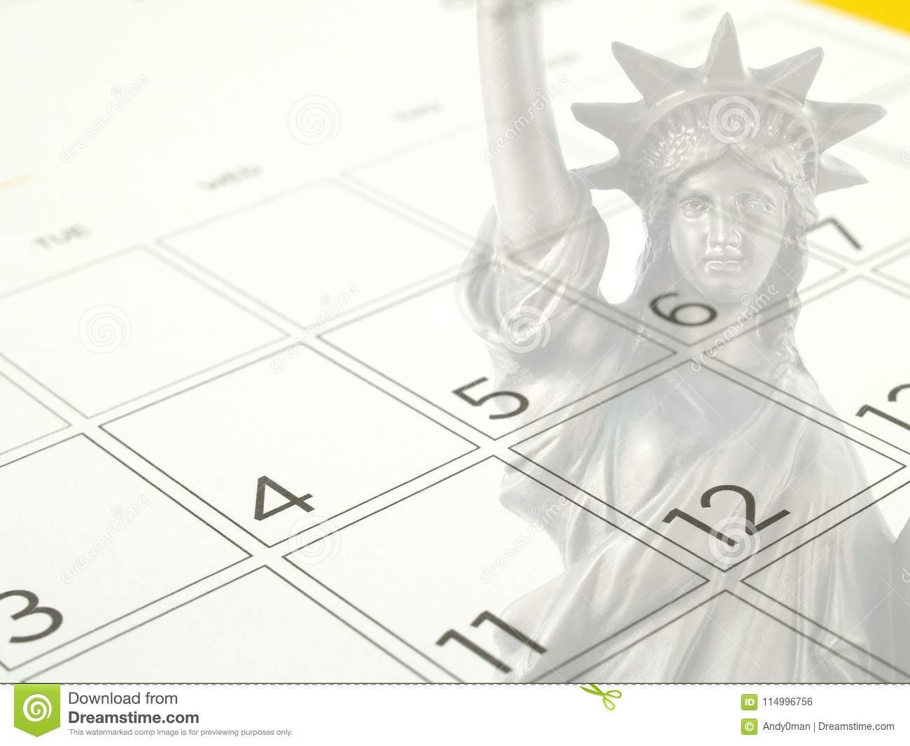 White Desk Calendar Page With Days And Dates In July 2017 And Part