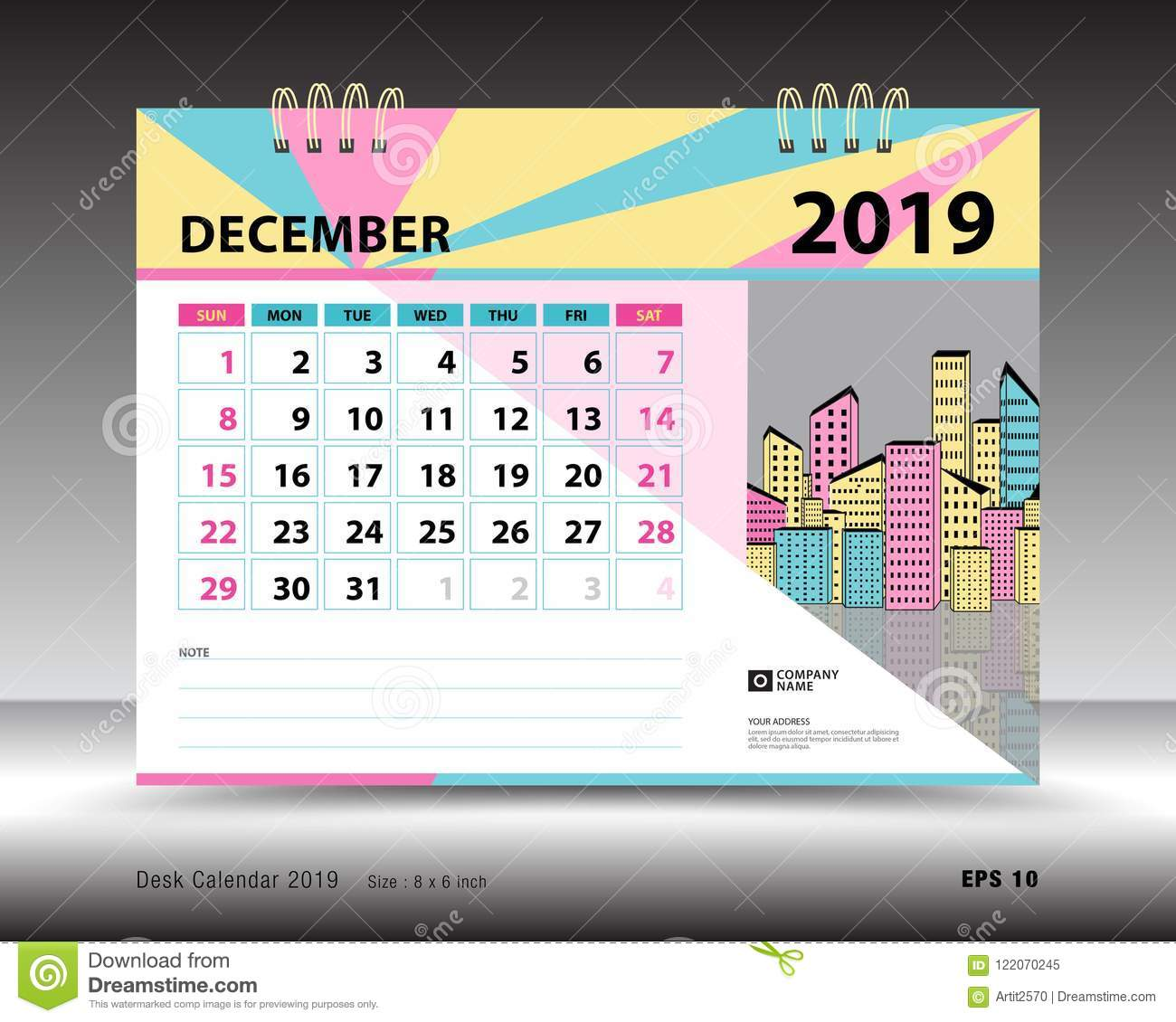 Desk Calendar For December 2019 Template Printable Calendar