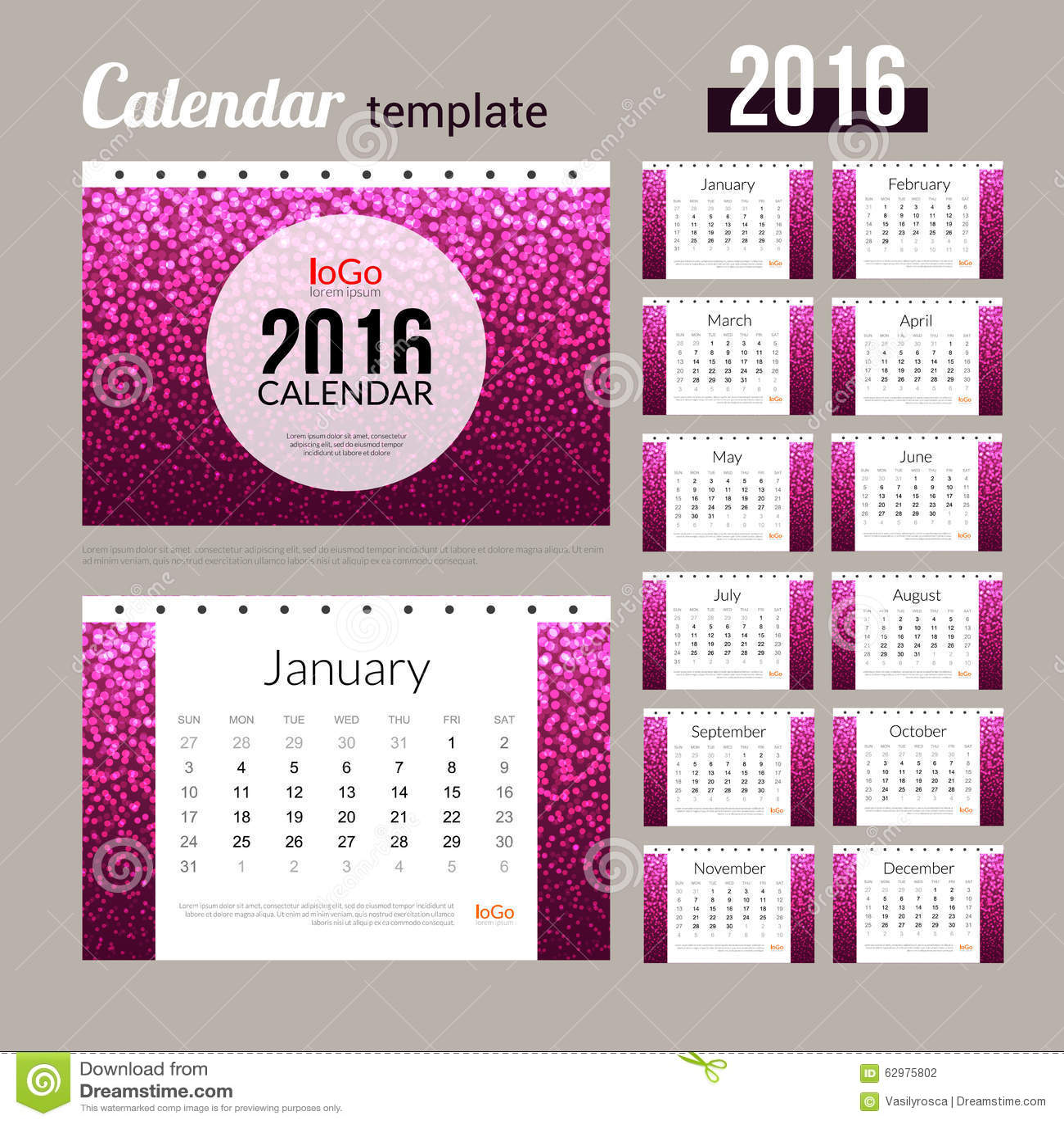 Calendar Design Pattern : Desk calendar design template with abstract stock