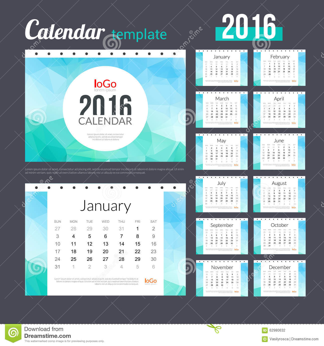 Desk Calendar 2016 Design Template with triangular trendy marine ...