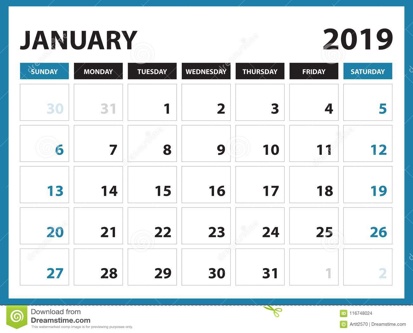 Desk Calendar For January 2019 Template Printable Calendar Planner