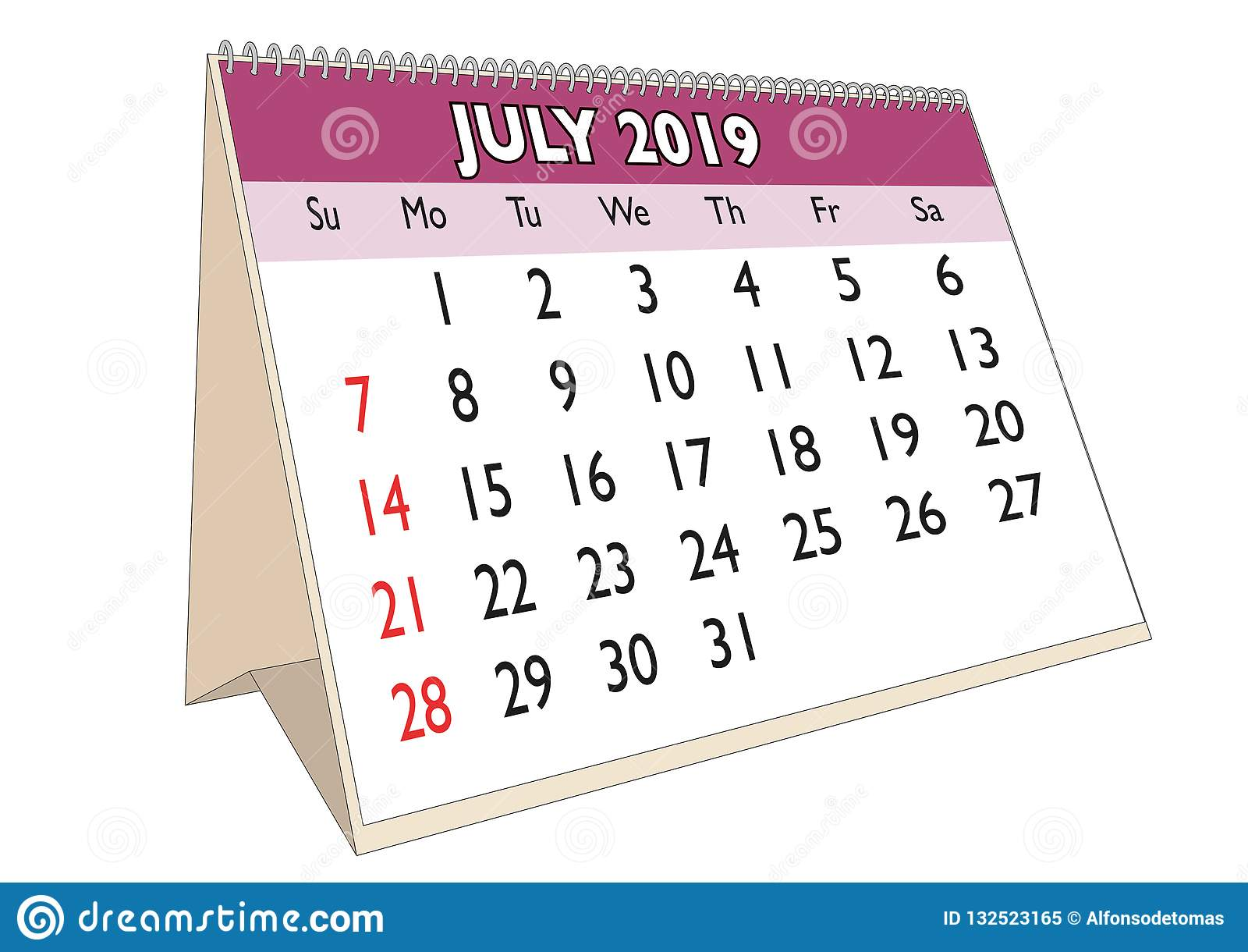 Calendario Julio 2019 Vector.Desk Calendar July 2019 Stock Vector Illustration Of July