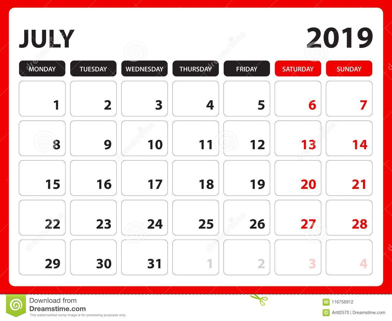 Desk Calendar For July 2019 Template Printable Calendar Planner