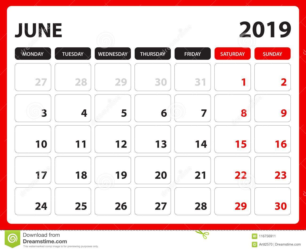 image relating to June Printable Calendar named Table Calendar For JUNE 2019 Template, Printable Calendar