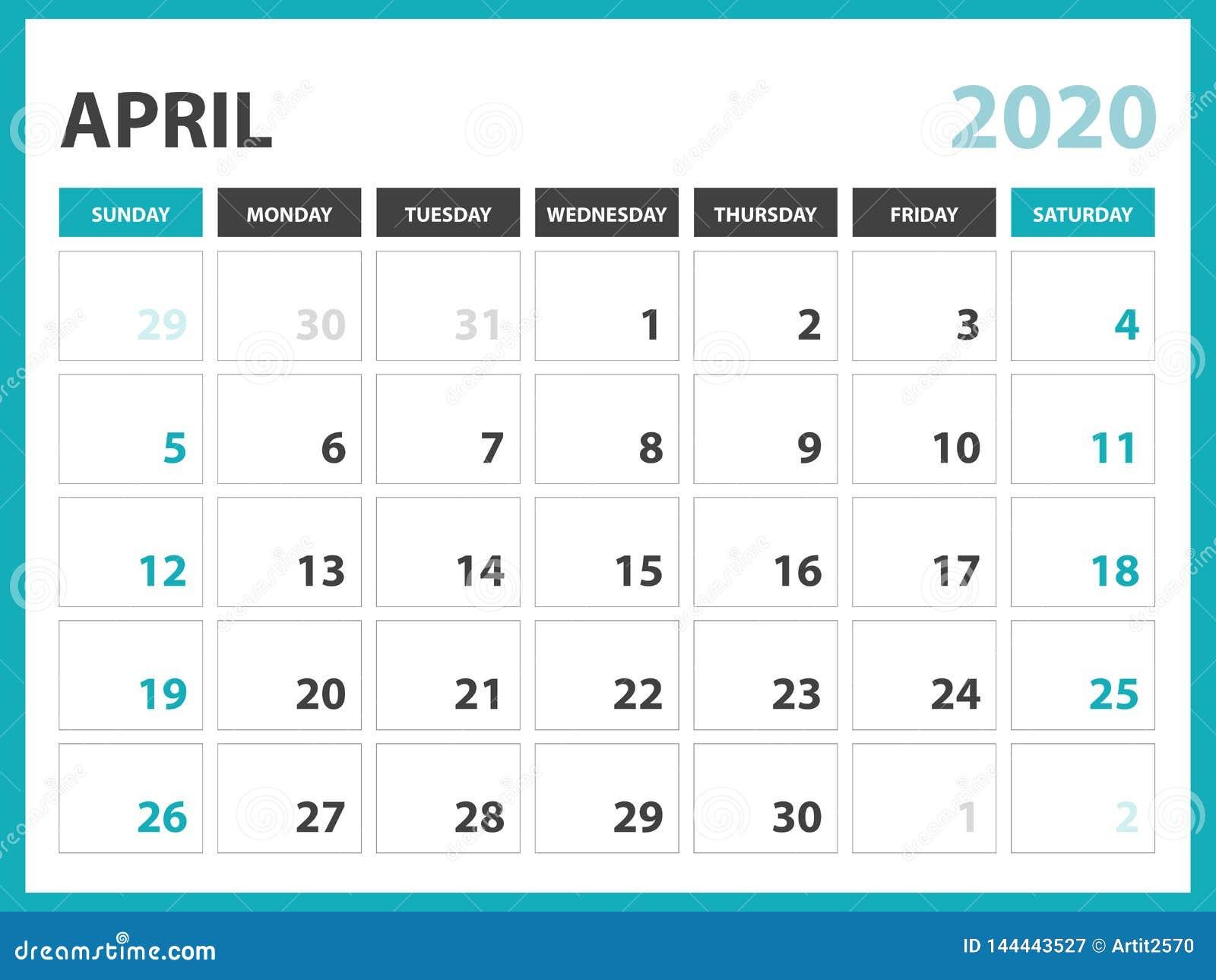 Desk Calendar Layout Size 8 X 6 Inch, April 2020 Calendar