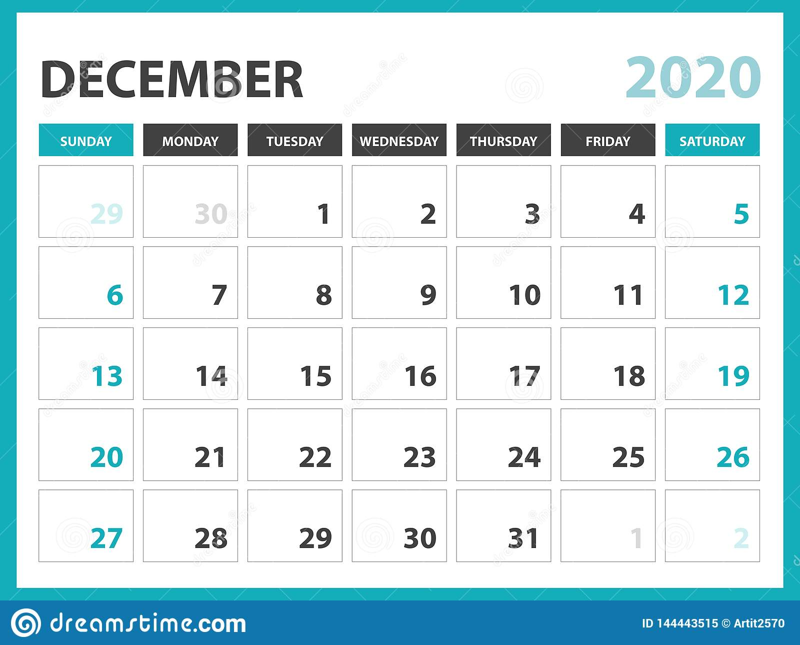 December Calendar 2020.Desk Calendar Layout Size 8 X 6 Inch December 2020 Calendar