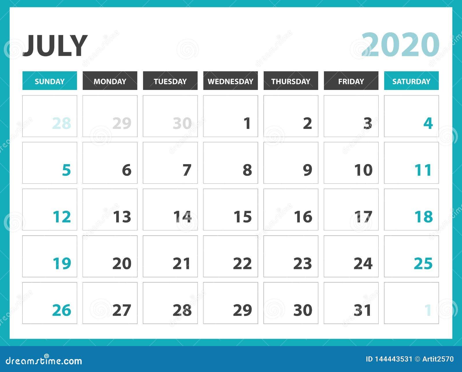 Calendar Of July 2020.Desk Calendar Layout Size 8 X 6 Inch July 2020 Calendar Template