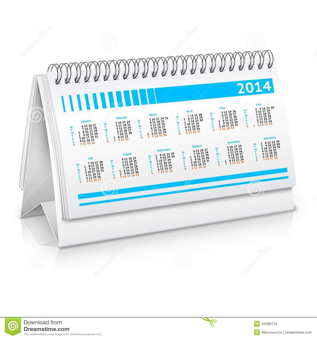 Desk calendar mockup stock vector image 41089715 for Office planner