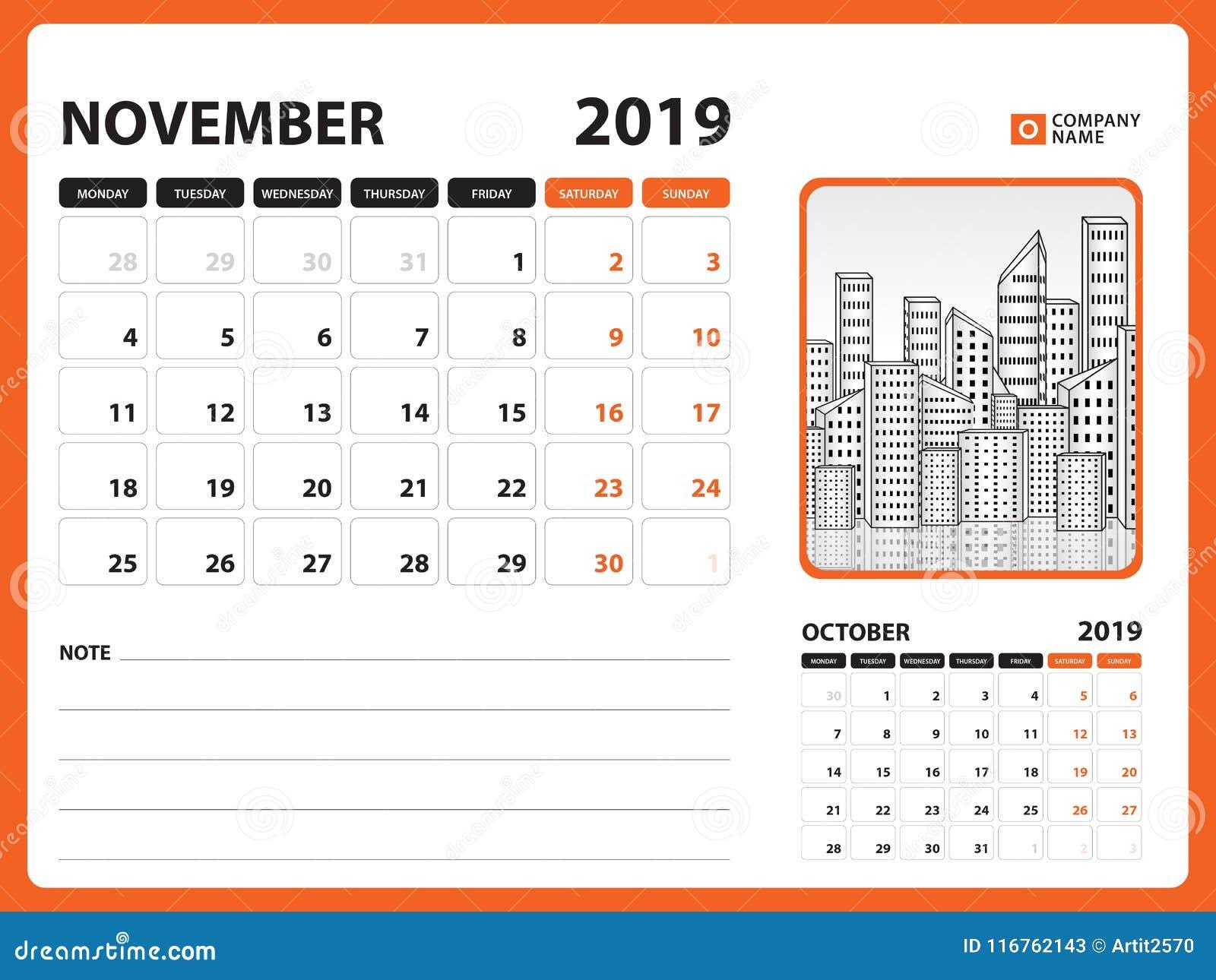 photograph about Printable Calendar for November known as Table Calendar For NOVEMBER 2019 Template, Printable Calendar