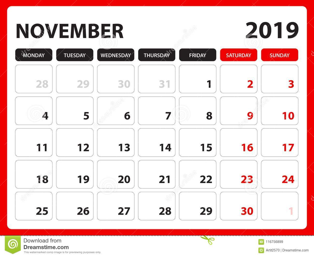 Desk Calendar For NOVEMBER 2019 Template, Printable ...