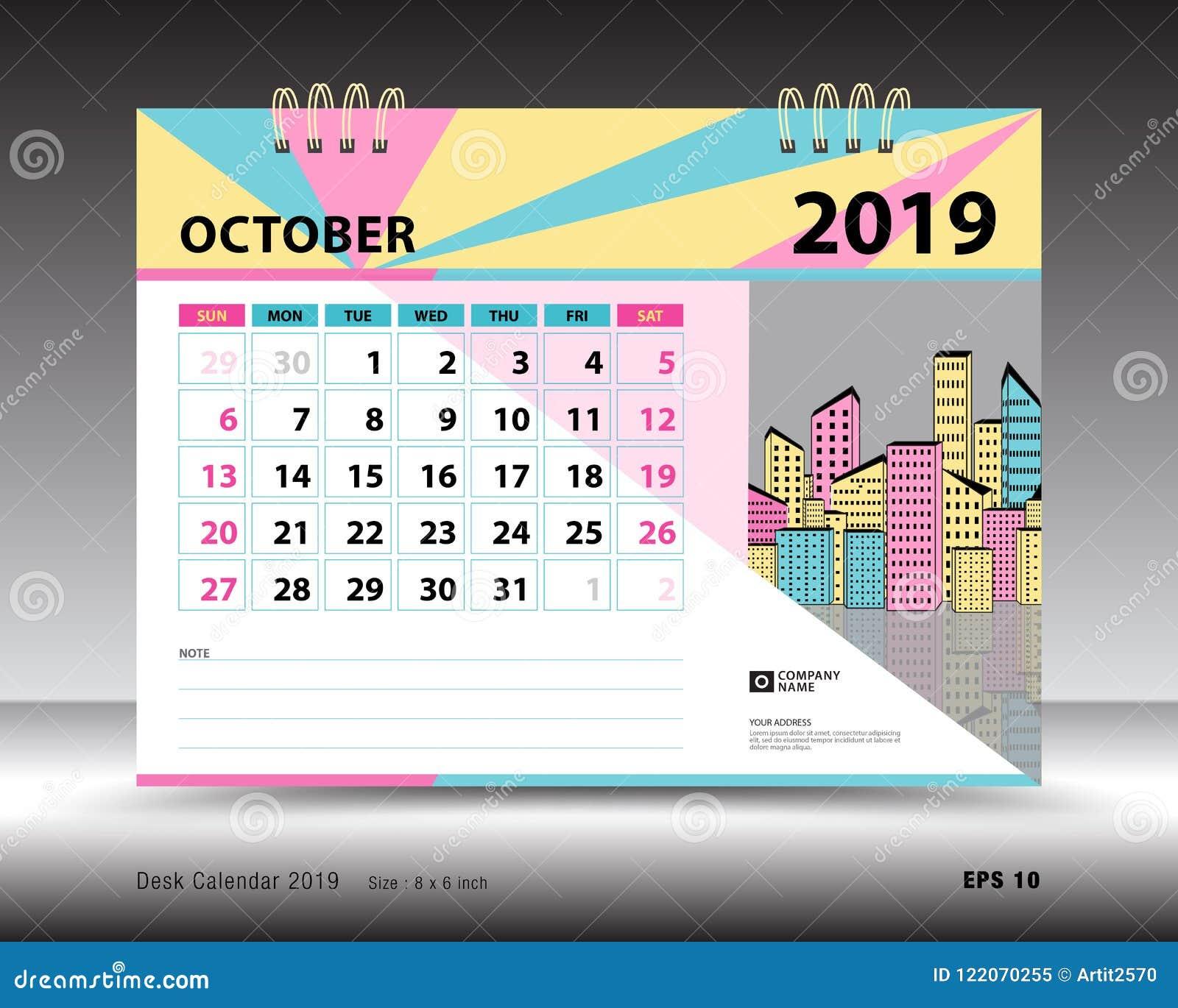 Desk Calendar For October 2019 Template Printable Calendar Planner