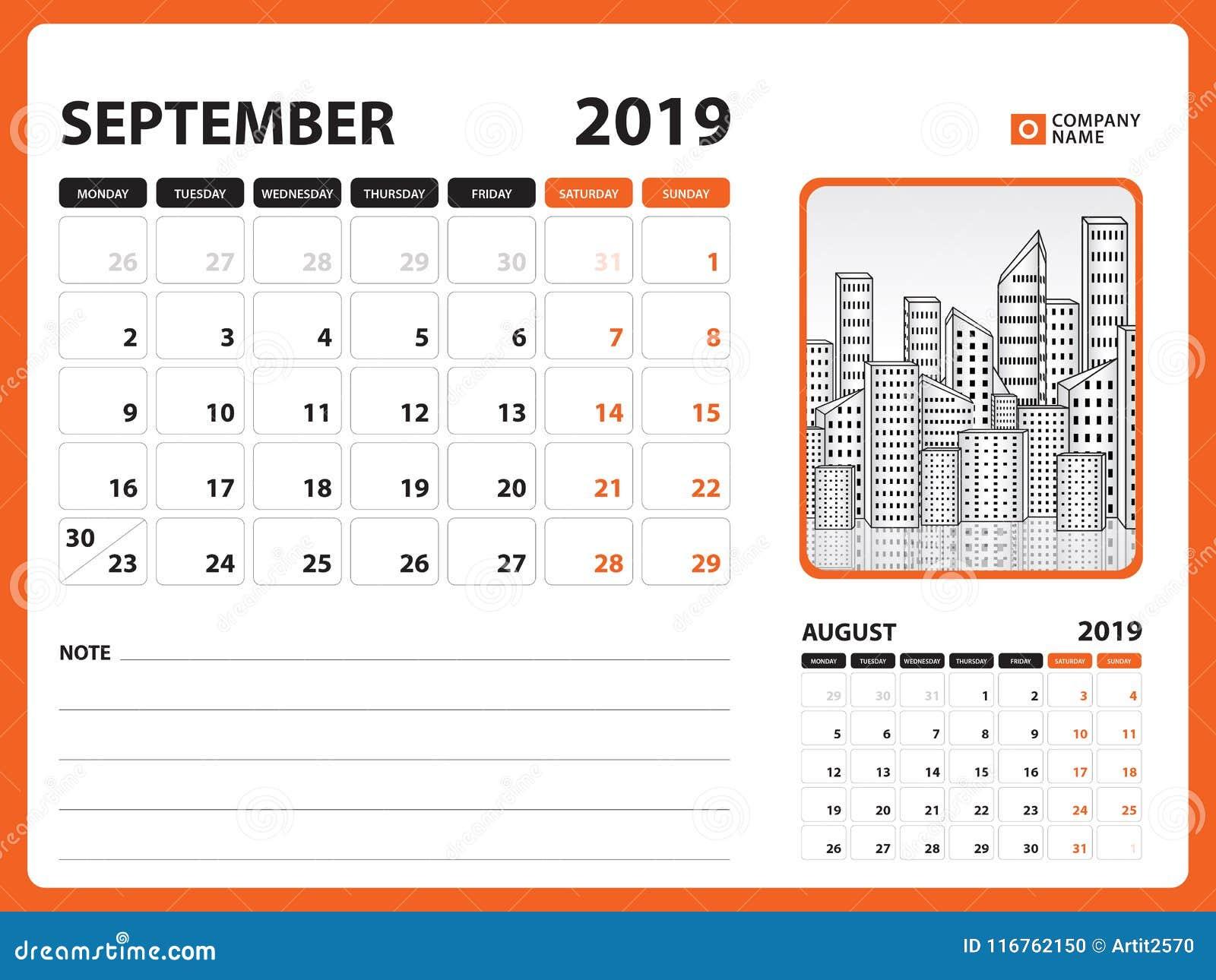 Desk Calendar For September 2019 Template Printable Calendar