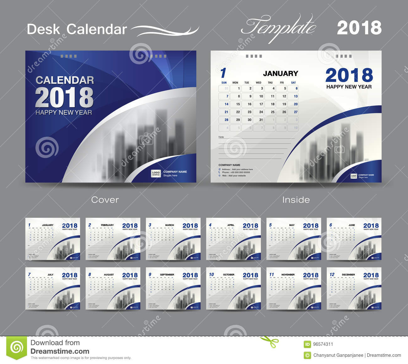 Calendar Design Layout : Desk calendar template design blue cover layout