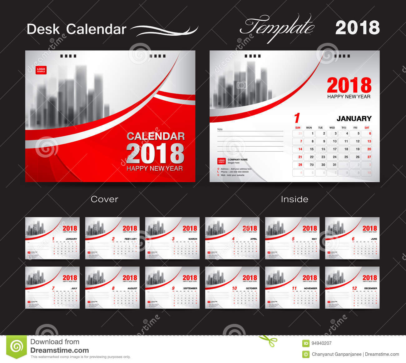 Calendar Cover Design 2014 : Desk calendar template design red cover set of