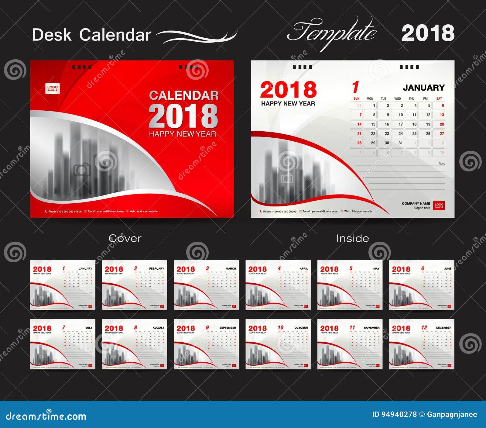 Calendar Design Software Free Download : Desk calendar template design red cover set of