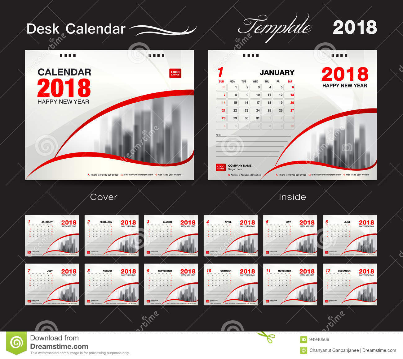Calendar Cover 2018 : Desk calendar template design red cover set of