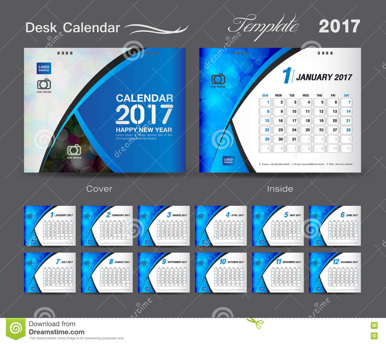 Corporate Calendar 2017 : Set cover desk calendar year template design