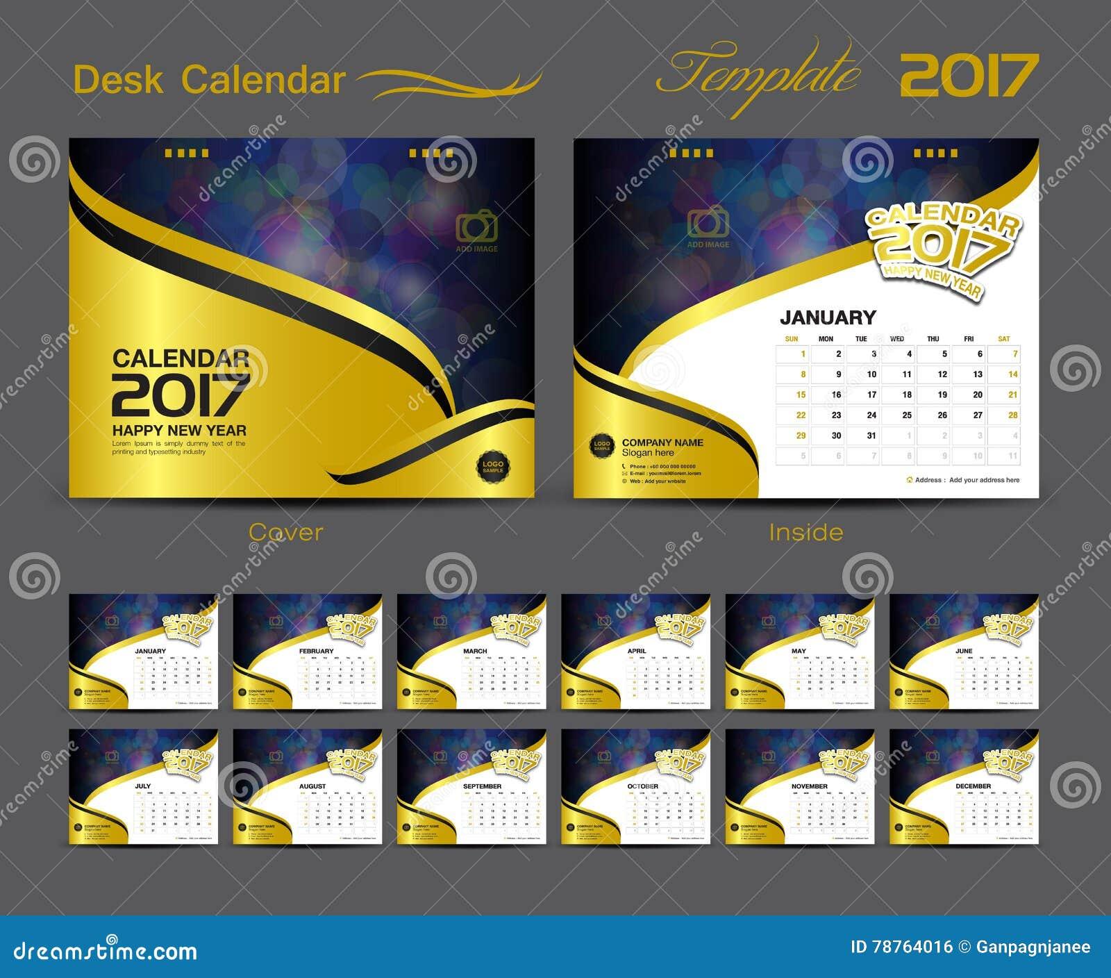 Set Yellow Desk Calendar 2017 Template Design Vector Image – Calendar Flyer Template