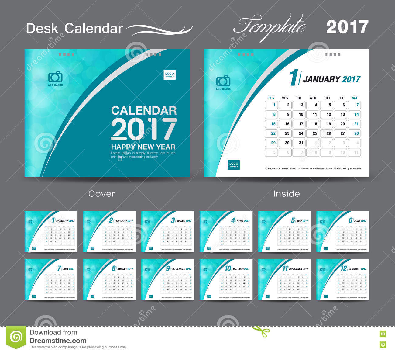 Calendar Green : Desk calendar template design set cover