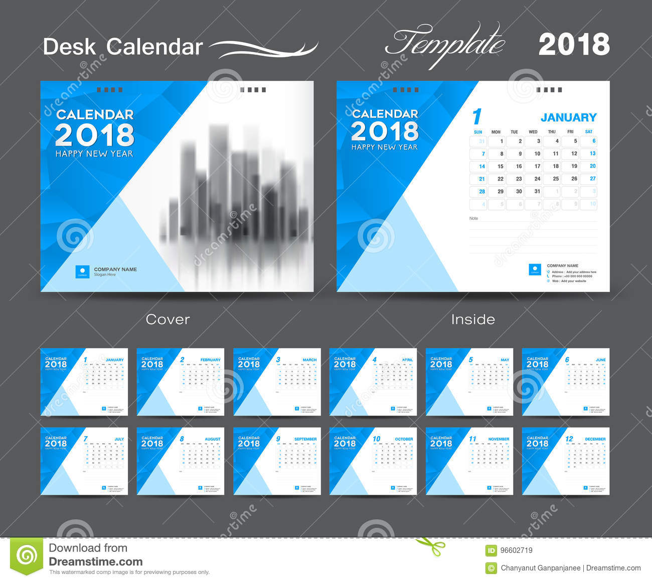 Calendar Cover Design 2014 : Desk calendar template layout design blue cover