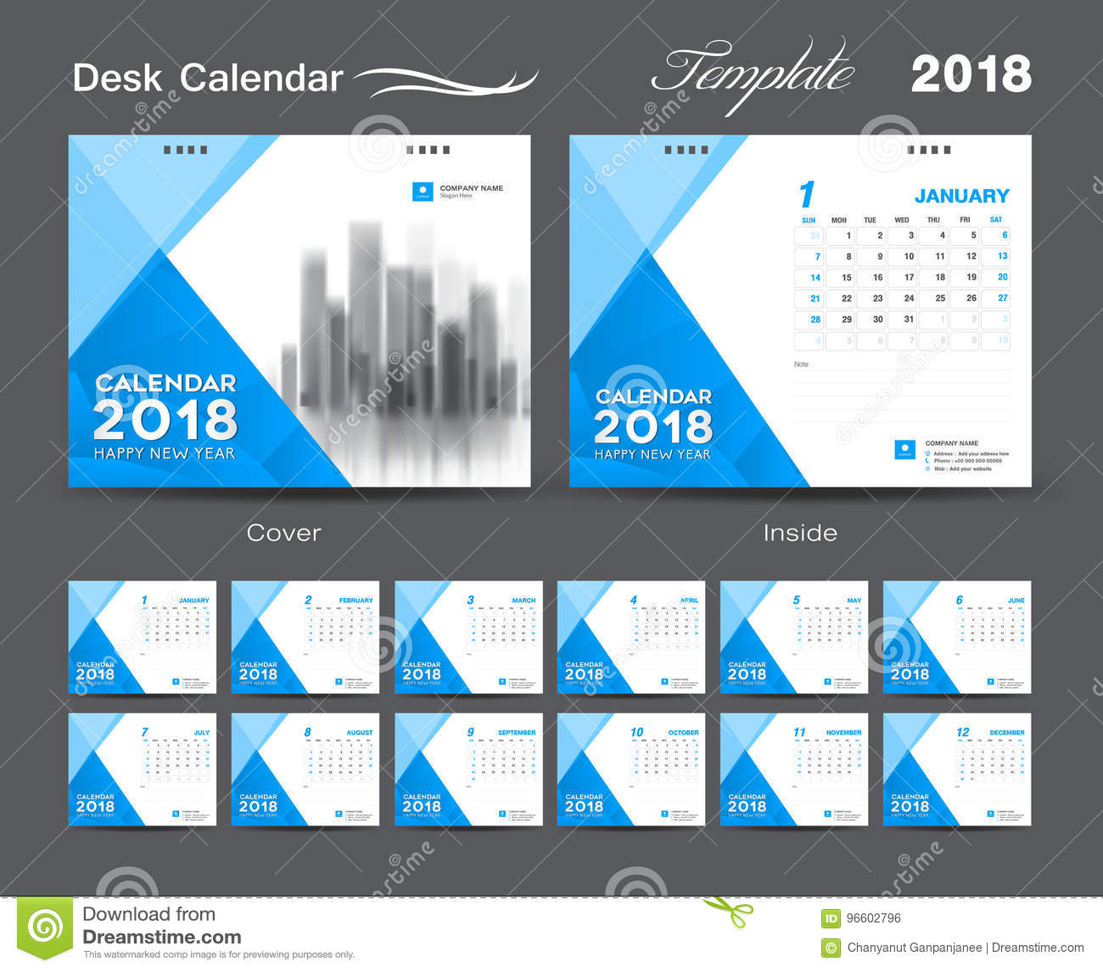 Calendar Layout Design : Desk calendar template layout design blue cover