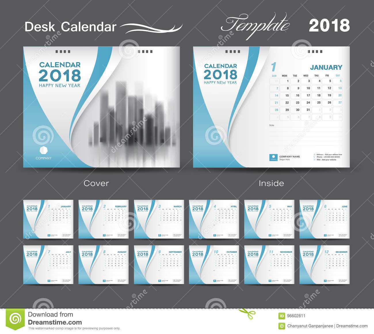 Calendar Cover Page Design : Desk calendar template layout design blue cover