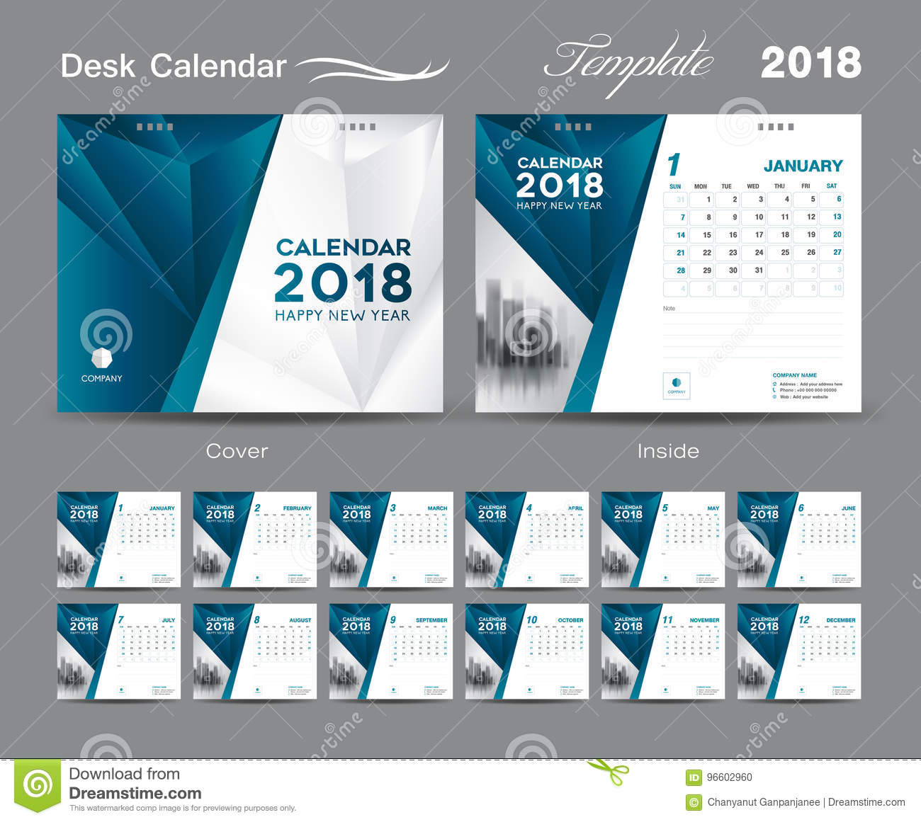 Calendar Cover Page Design : Desk calendar template layout design blue cover set