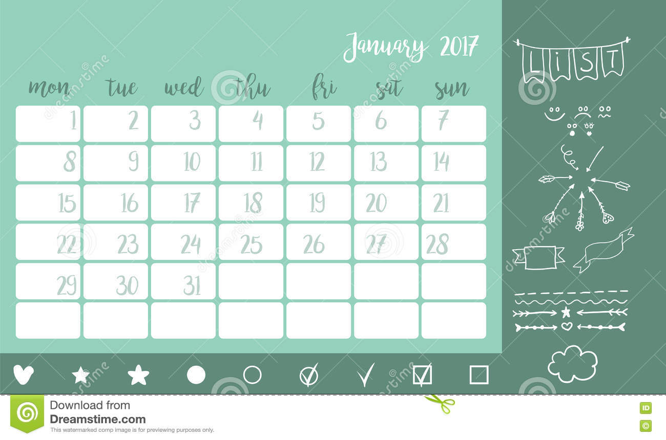 Desk Calendar Template For Month January Week Starts Monday Stock