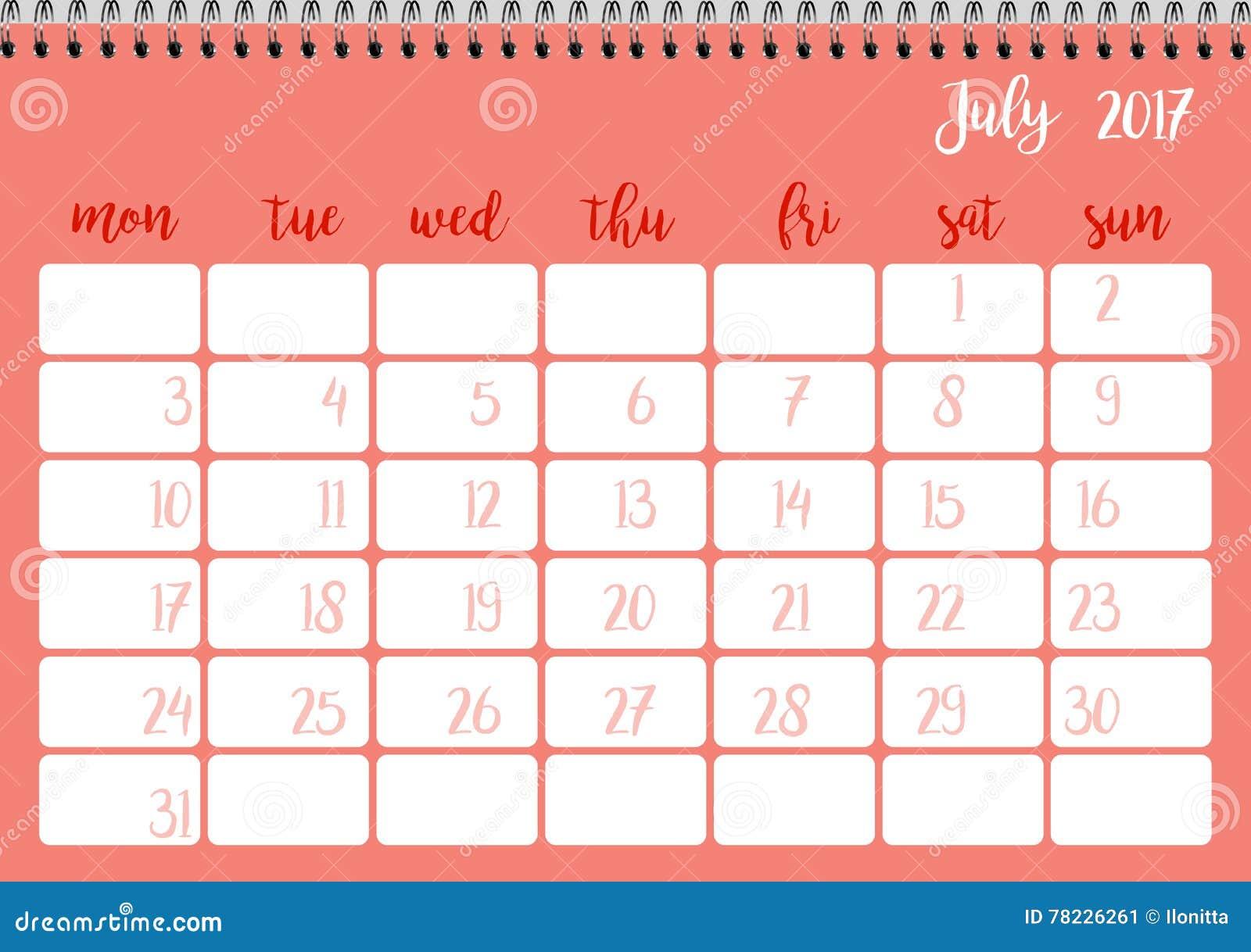 desk calendar template for month july  week starts monday stock vector