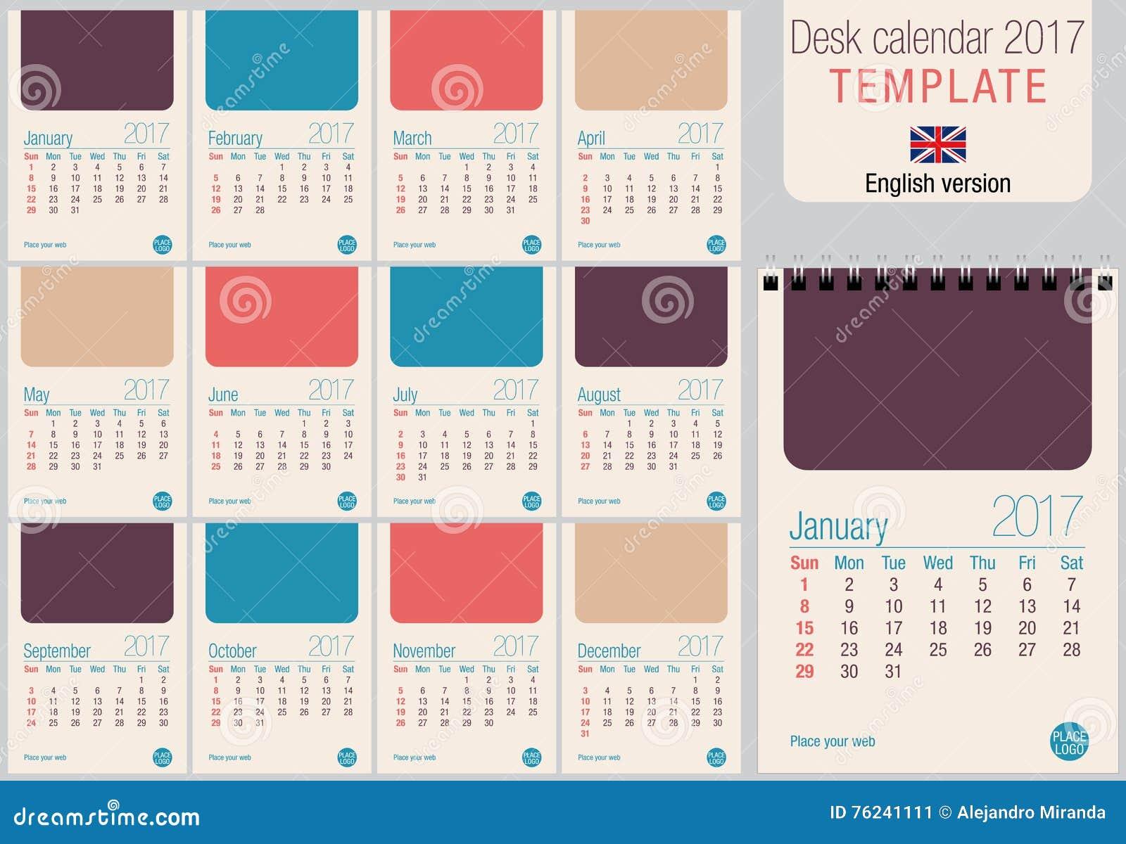 Table Calendar Size : Desk calendar template in pastel colors ready for