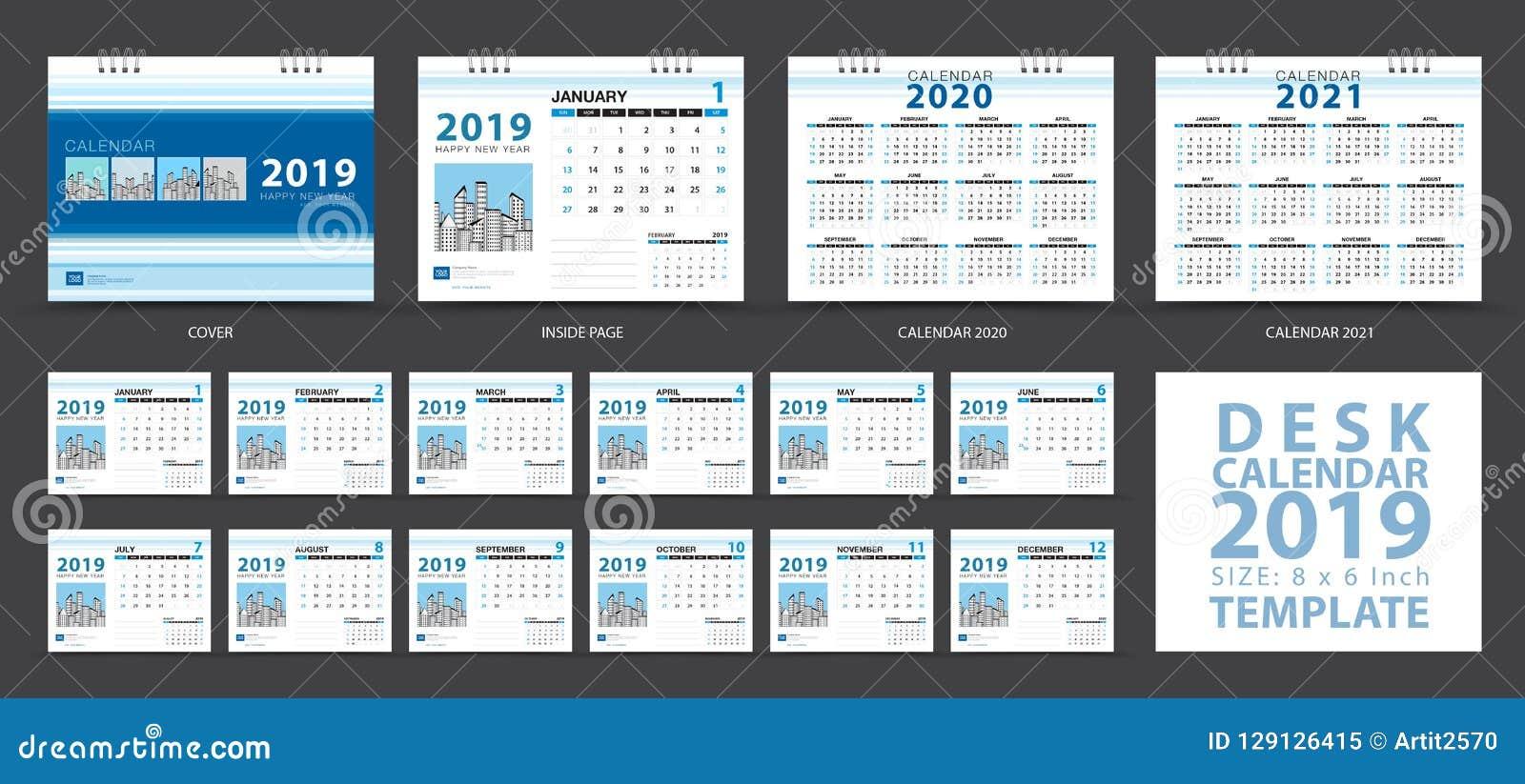 Desk Calendar 2019 Template Set Of 12 Months Calendar 2020 2021