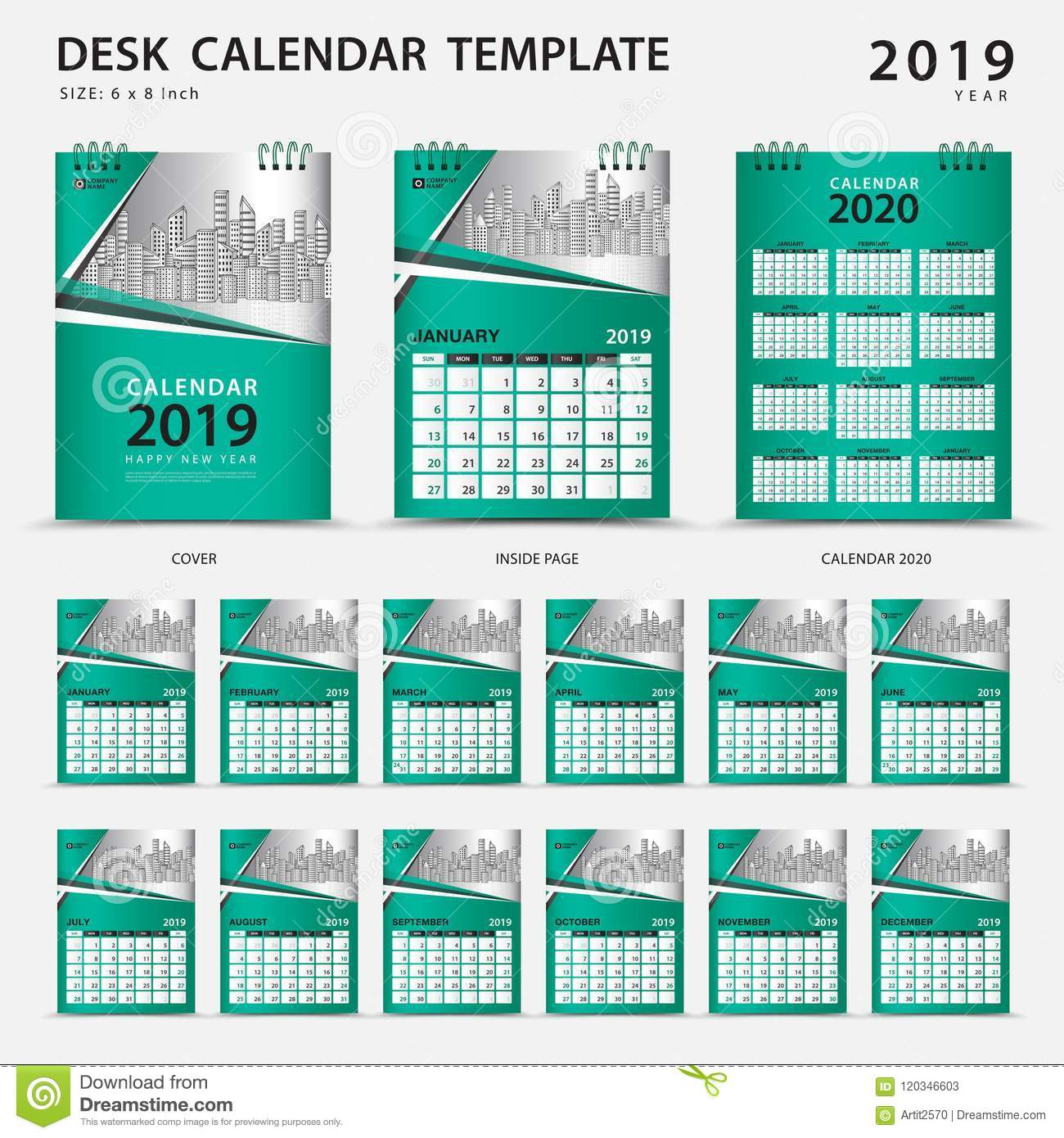 desk calendar 2019 template set of 12 months planner week starts