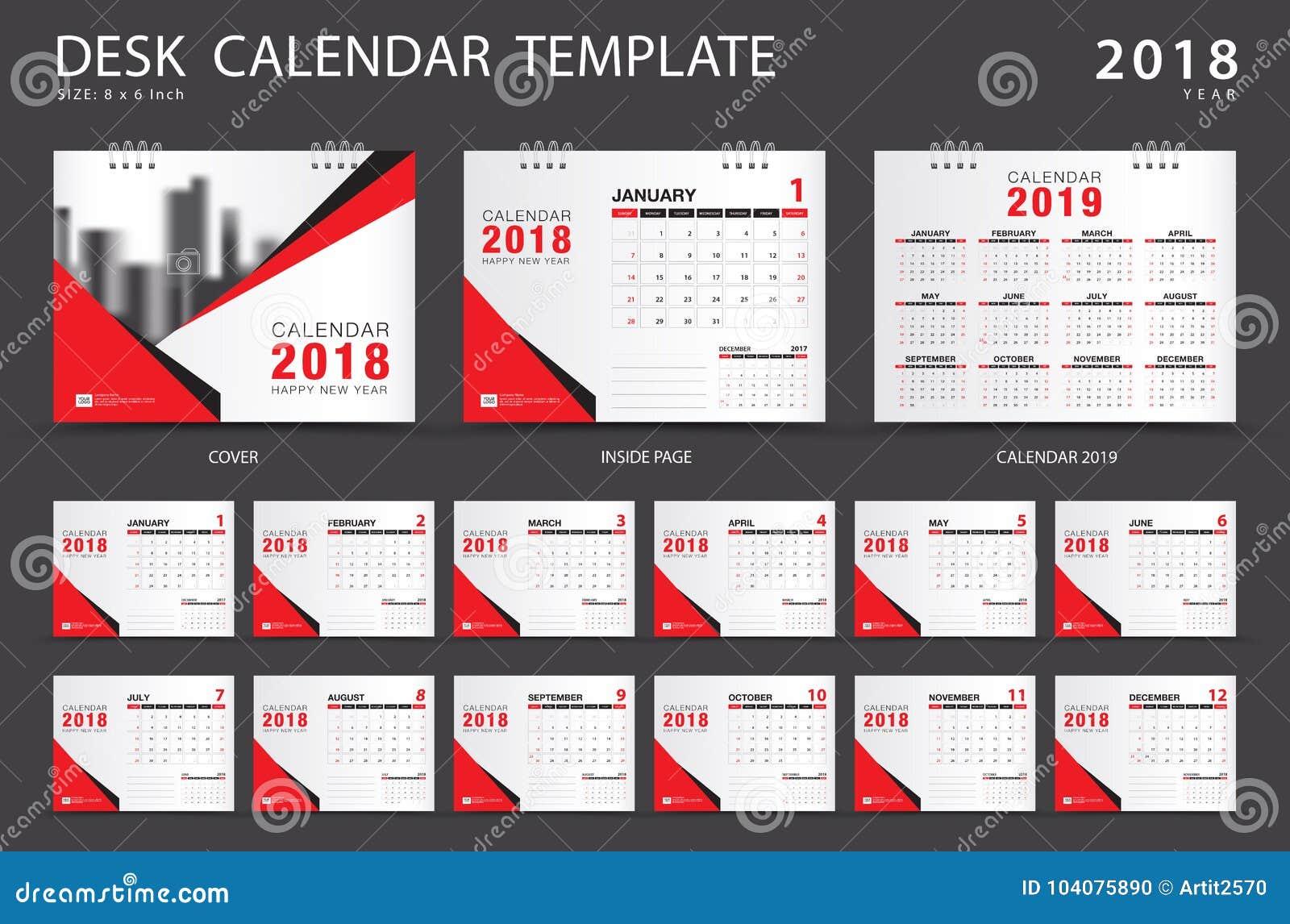 desk calendar 2018 template set of 12 months planner stock vector