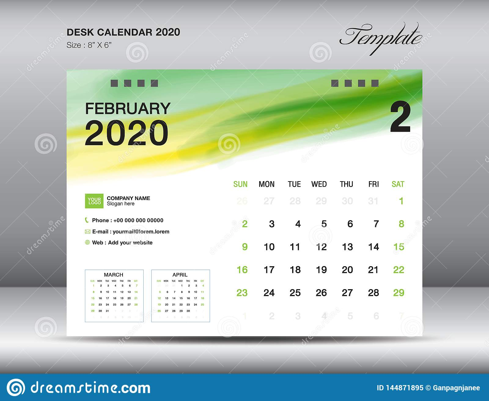 Desk Calendar 2020 Template Vector February 2020 Month Business Layout 8x6 Inch Stock Vector Illustration Of Advertisement Holiday 144871895