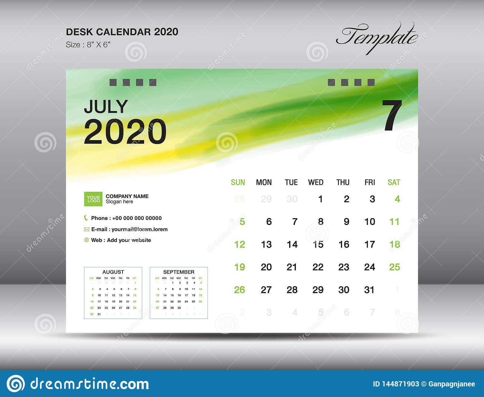 Desk Calendar 2020 Template Vector, JULY 2020 Month With