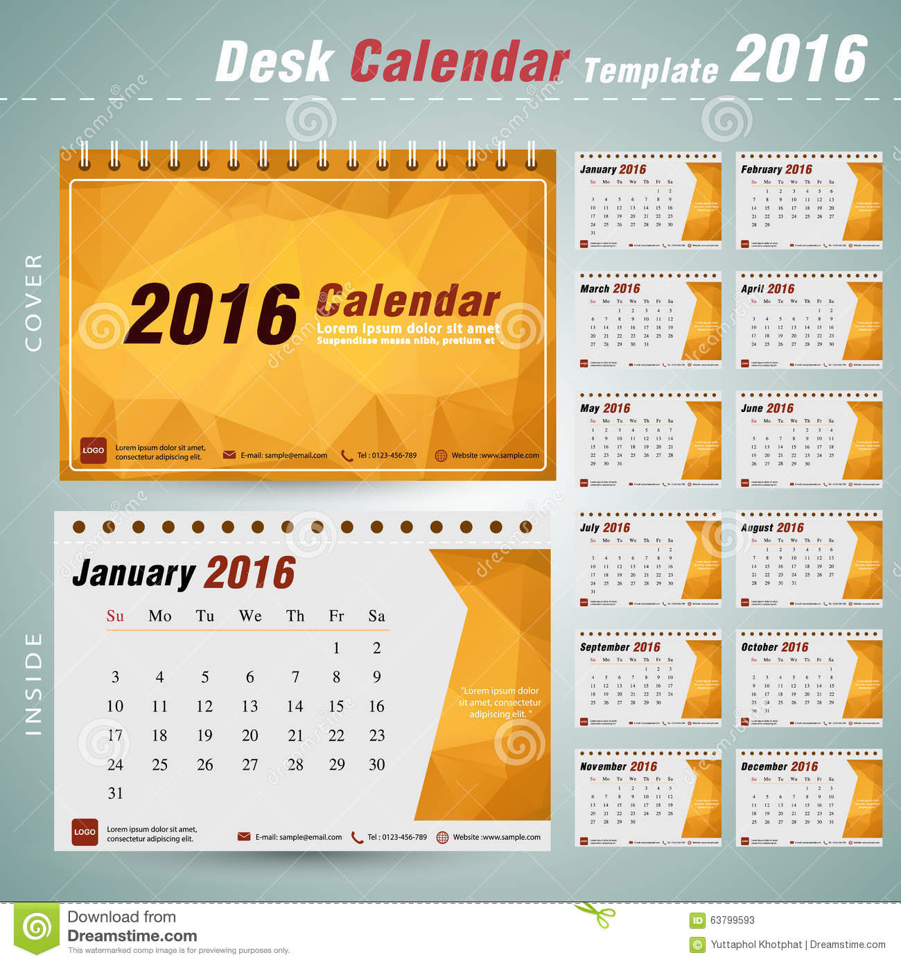 Calendar Design Photo : Desk calendar vector design template with abstract