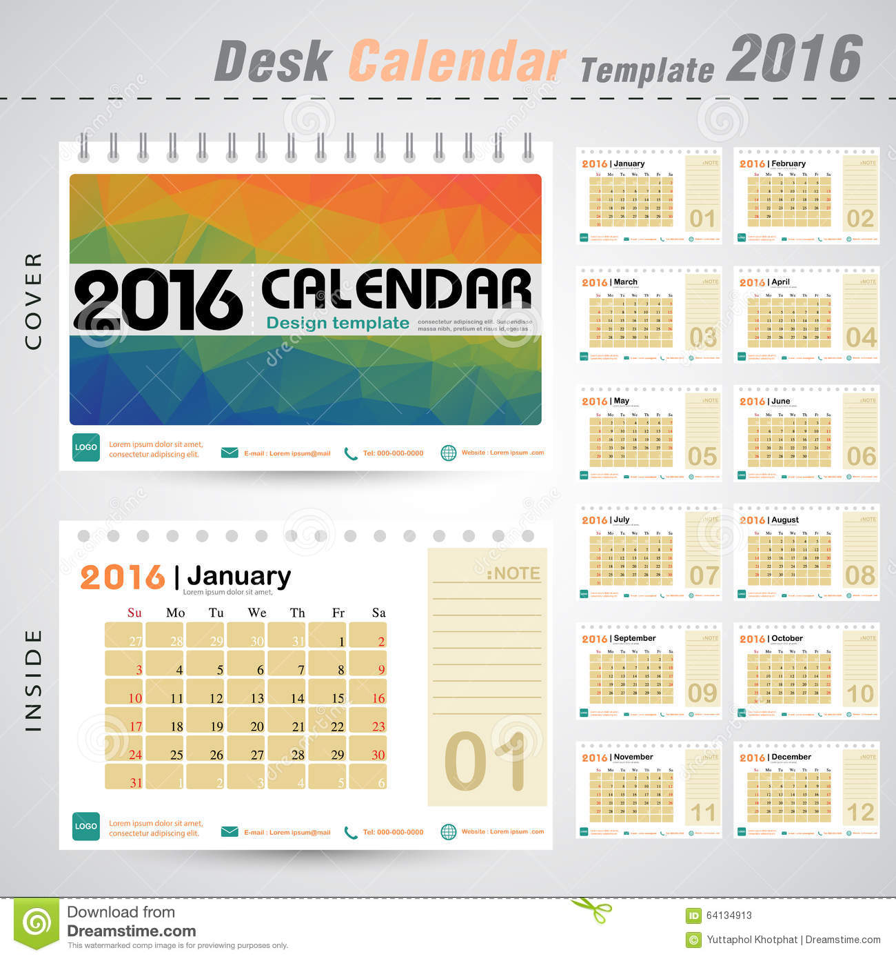 Desk Calendar Design : Desk calendar vector design template with colorful
