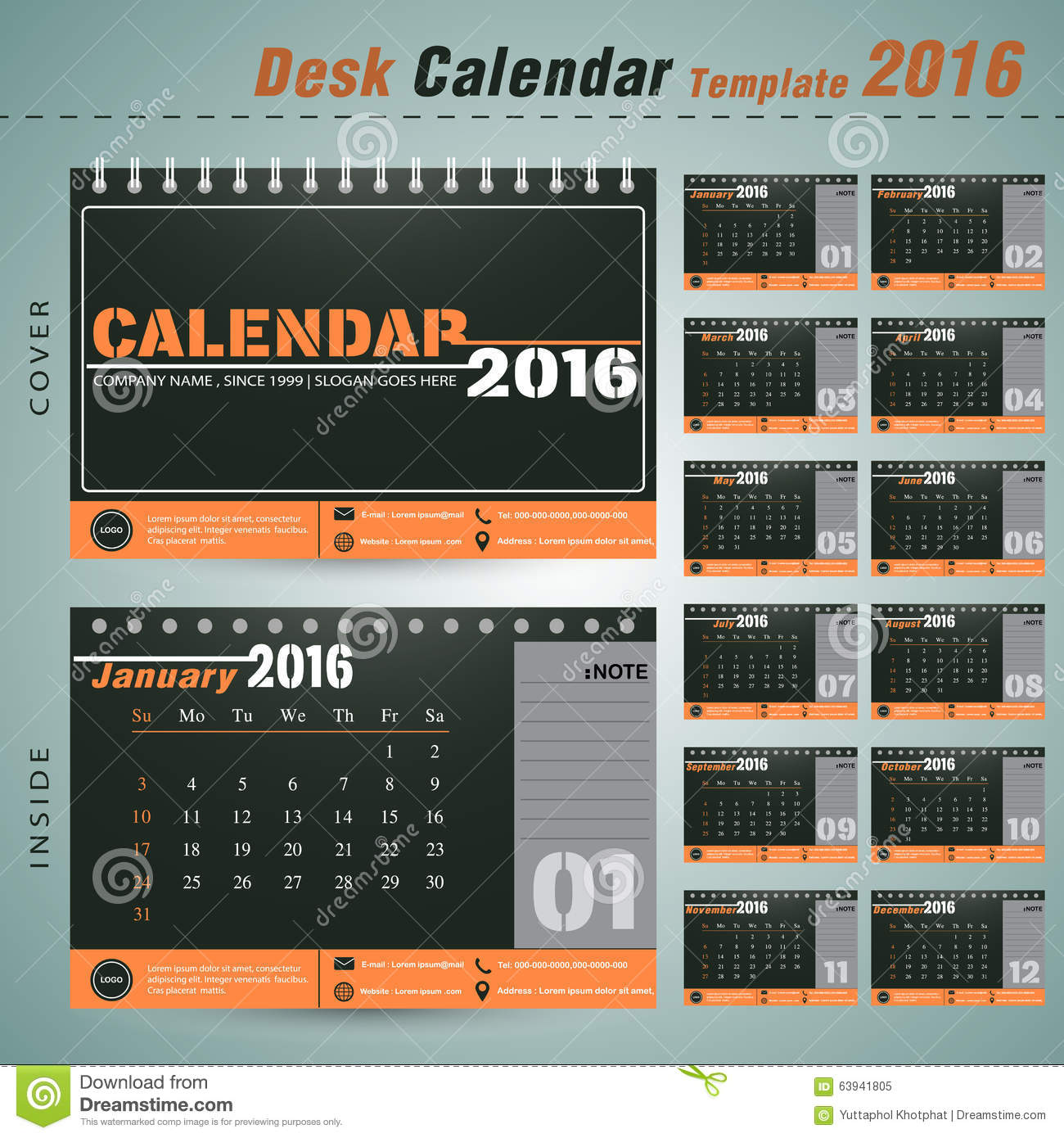 Desk Calendar 2016 Vector Design Template For New Yea,office Stock ...