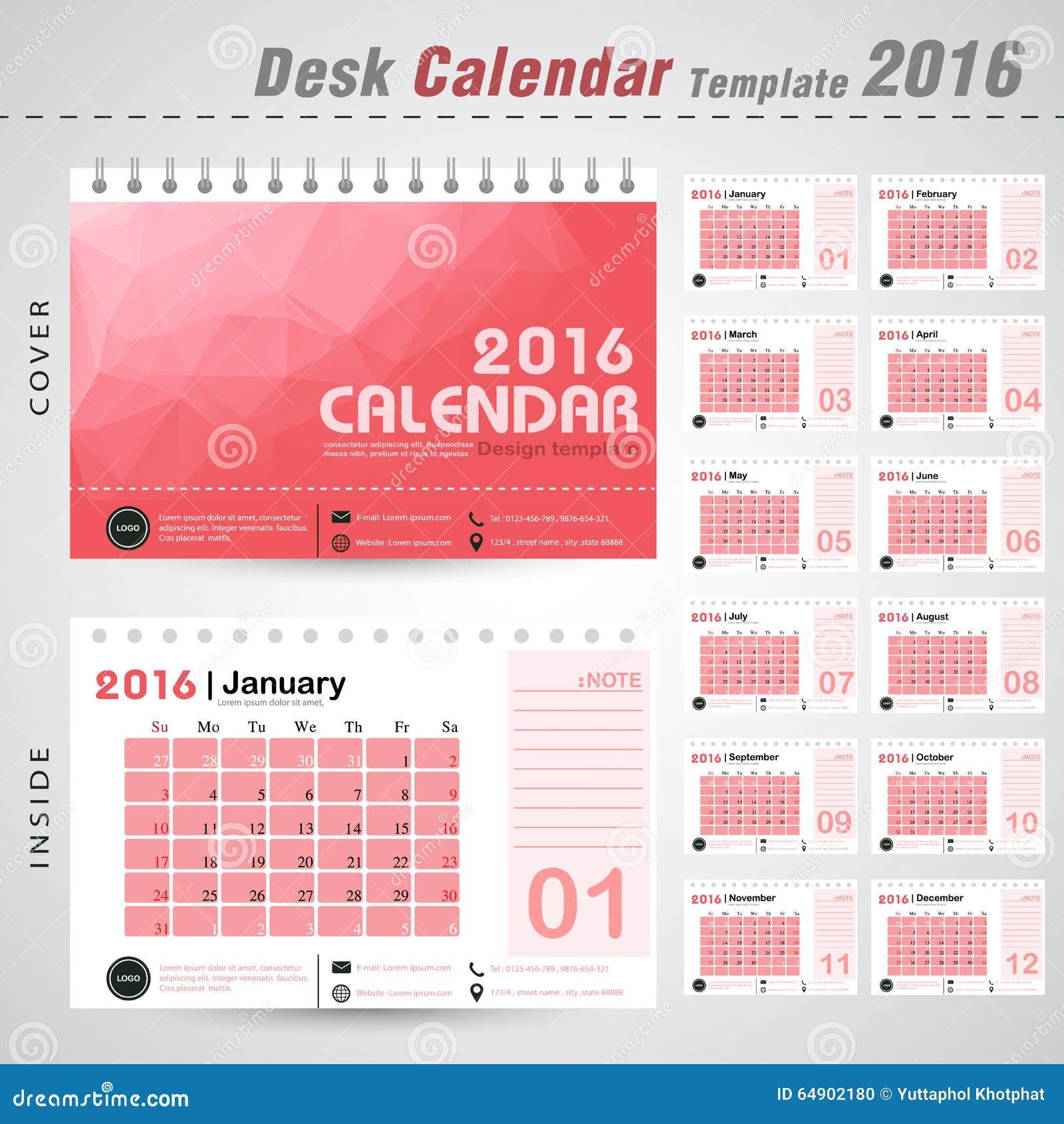Calendar Design Pattern : Desk calendar vector design template with red
