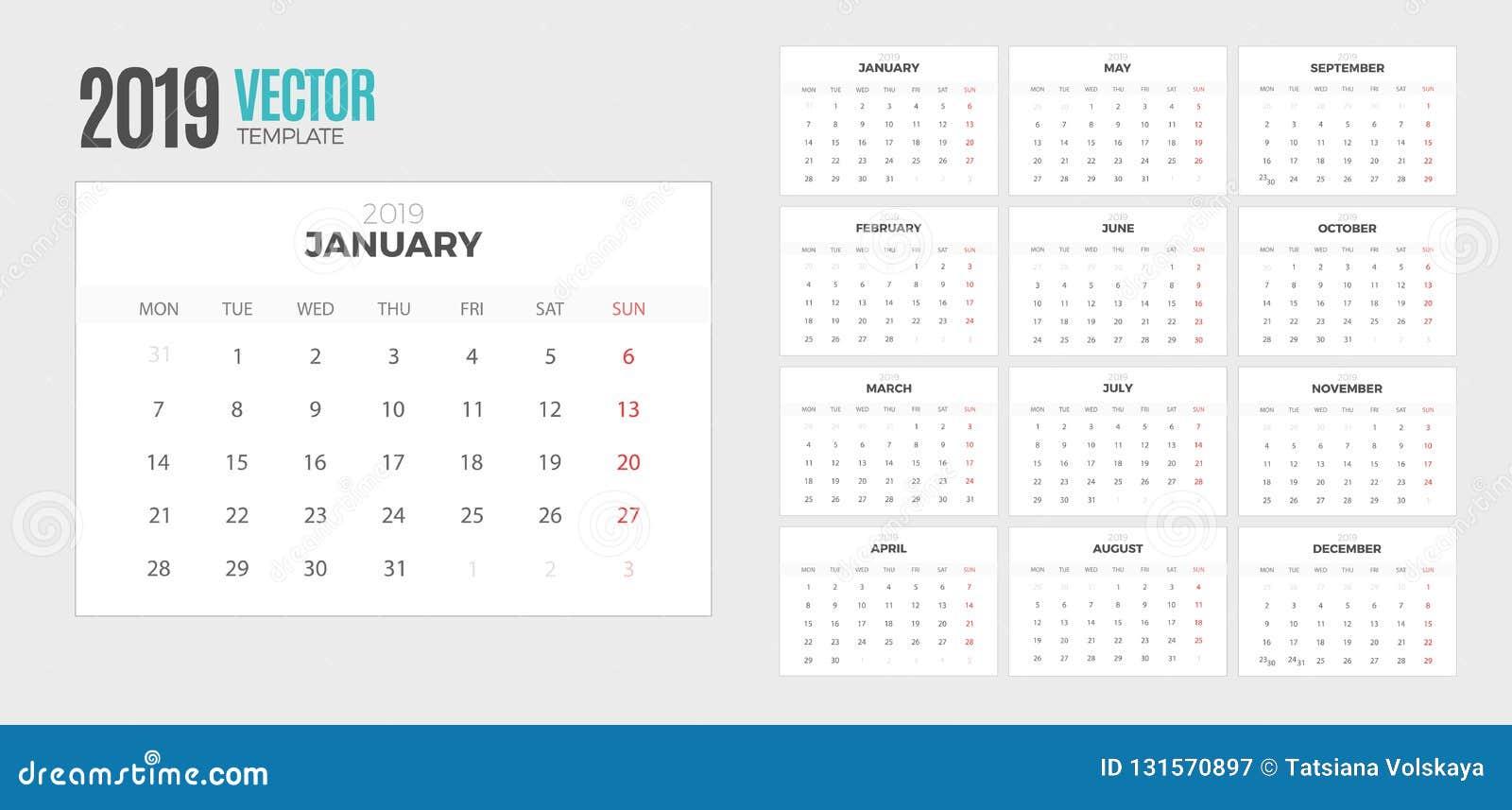2019 Desk Calendar Week Starts Monday Stock Vector Illustration